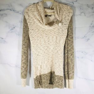 BKE Buckle Sweater M Tan White Cowl Neck